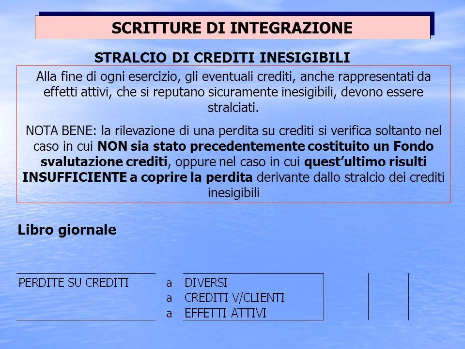 SCRITTURE DI INTEGRAZIONE Esempio: La società, dopo aver proceduto ad una accurata valutazione dei crediti commerciali in essere al 31/12, ritiene con