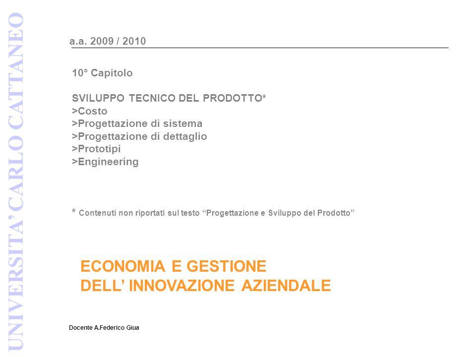 ECONOMIA E GESTIONE DELL' INNOVAZIONE AZIENDALE Docente A.Federico Giua a.a. 2009 / 2010 UNIVERSITA' CARLO CATTANEO 10° Capitolo SVILUPPO TECNICO DEL
