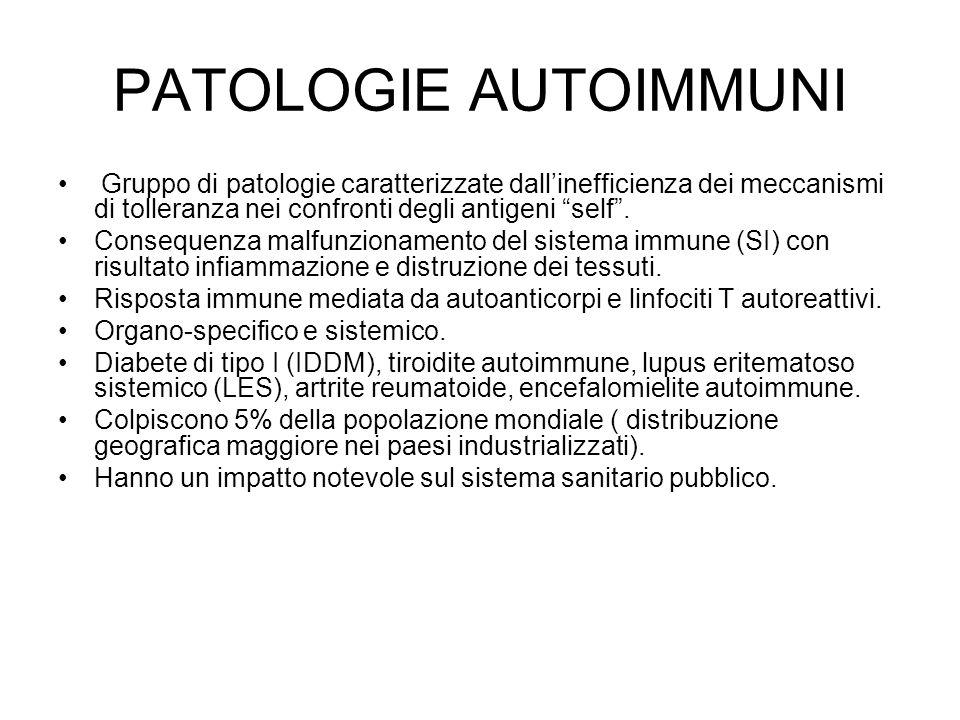 """PATOLOGIE AUTOIMMUNI Gruppo di patologie caratterizzate dall'inefficienza dei meccanismi di tolleranza nei confronti degli antigeni """"self"""". Consequenz"""