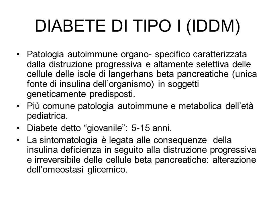 DIABETE DI TIPO I (IDDM) Patologia autoimmune organo- specifico caratterizzata dalla distruzione progressiva e altamente selettiva delle cellule delle