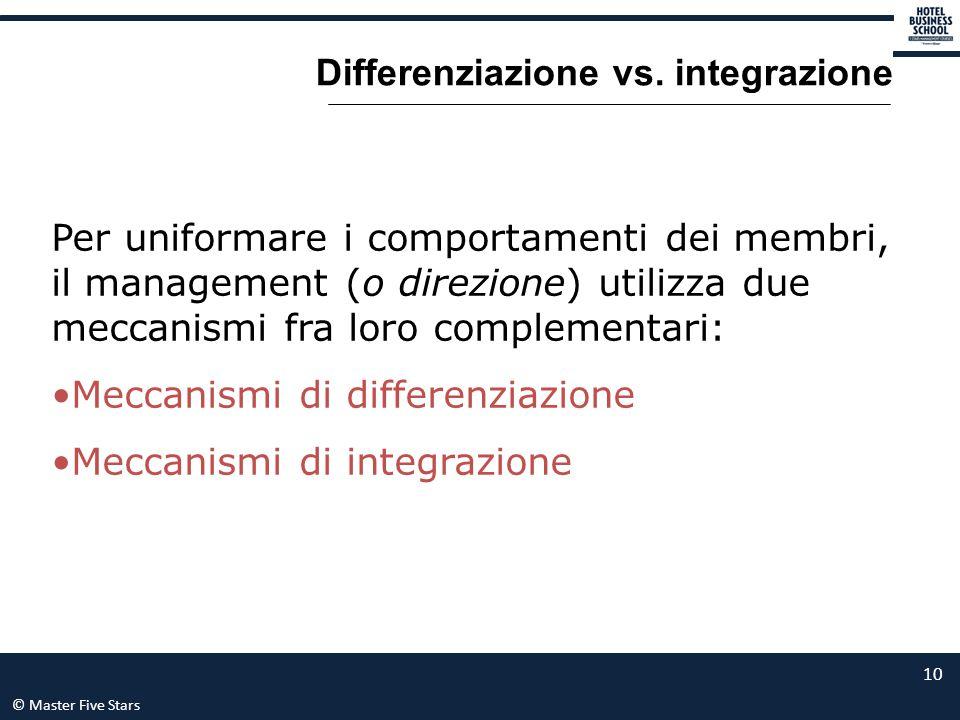 © Master Five Stars 10 Differenziazione vs. integrazione Per uniformare i comportamenti dei membri, il management (o direzione) utilizza due meccanism