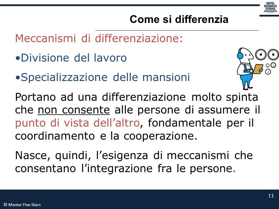 © Master Five Stars 11 Come si differenzia Meccanismi di differenziazione: Divisione del lavoro Specializzazione delle mansioni Portano ad una differe