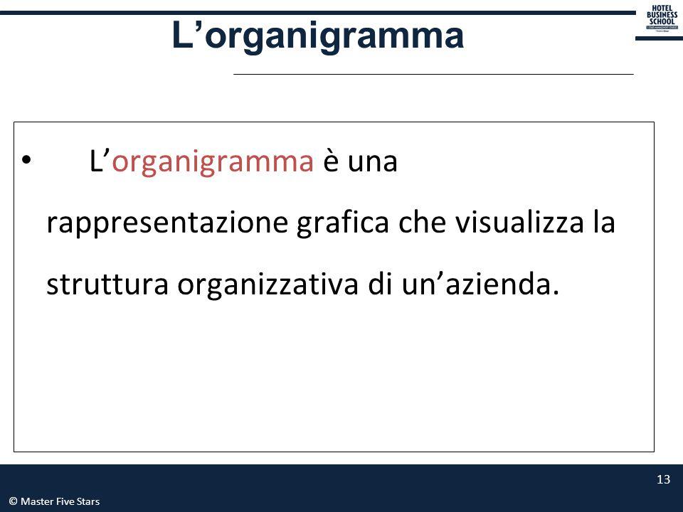 © Master Five Stars 13 L'organigramma è una rappresentazione grafica che visualizza la struttura organizzativa di un'azienda. L'organigramma