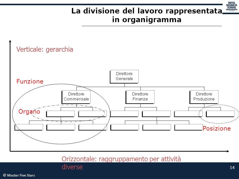 © Master Five Stars 14 Orizzontale: raggruppamento per attività diverse Verticale: gerarchia La divisione del lavoro rappresentata in organigramma Pos