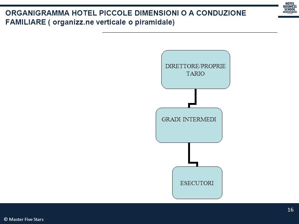 © Master Five Stars 16 ORGANIGRAMMA HOTEL PICCOLE DIMENSIONI O A CONDUZIONE FAMILIARE ( organizz.ne verticale o piramidale) DIRETTORE/PROPRIETARIO GRA
