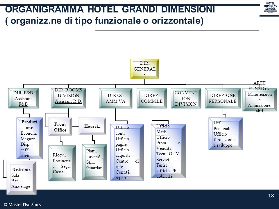 © Master Five Stars 18 ORGANIGRAMMA HOTEL GRANDI DIMENSIONI ( organizz.ne di tipo funzionale o orizzontale) DIR. GENERALE DIR. F&B Assistant F&B Produ