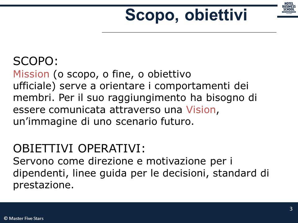 © Master Five Stars 3 Scopo, obiettivi SCOPO: Mission (o scopo, o fine, o obiettivo ufficiale) serve a orientare i comportamenti dei membri. Per il su