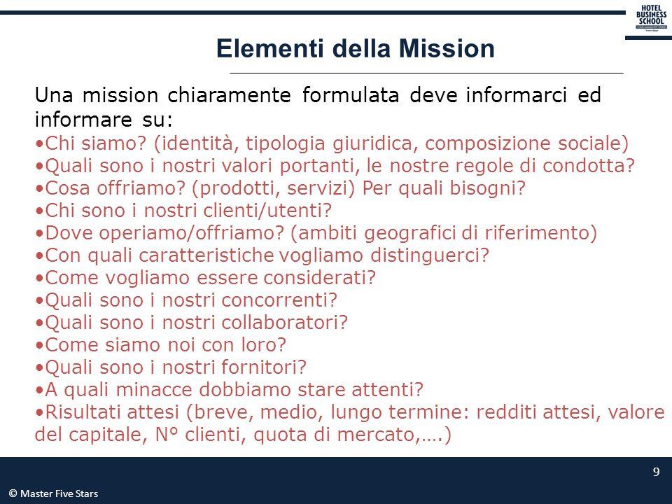 © Master Five Stars 9 Elementi della Mission Una mission chiaramente formulata deve informarci ed informare su: Chi siamo? (identità, tipologia giurid