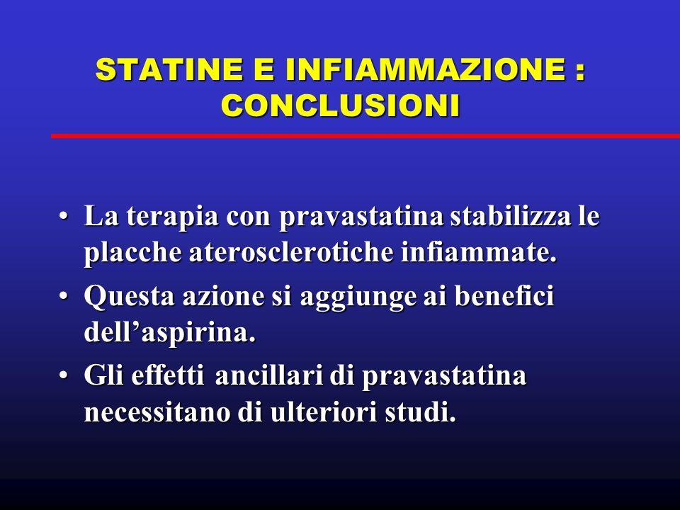 STATINE E INFIAMMAZIONE : CONCLUSIONI La terapia con pravastatina stabilizza le placche aterosclerotiche infiammate.La terapia con pravastatina stabil