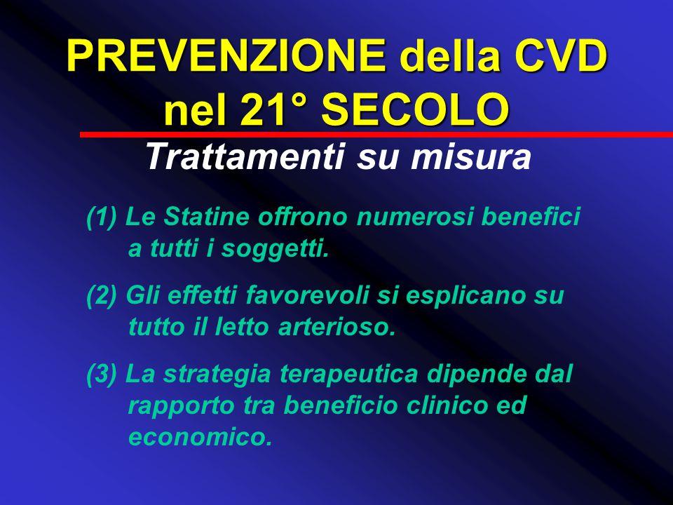 PREVENZIONE della CVD nel 21° SECOLO Trattamenti su misura (1) Le Statine offrono numerosi benefici a tutti i soggetti. (2) Gli effetti favorevoli si