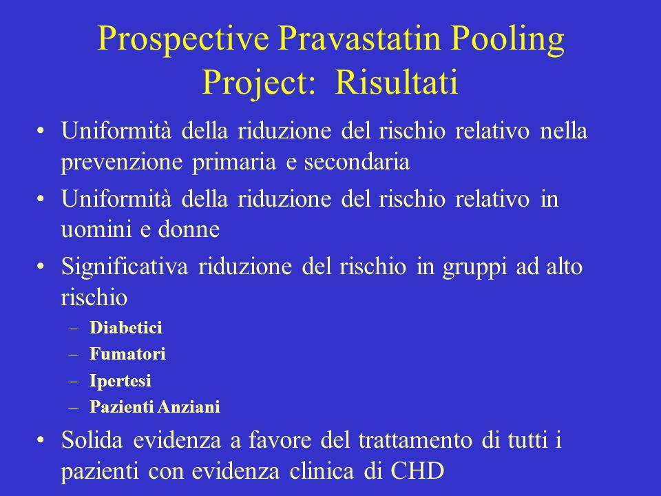 Prospective Pravastatin Pooling Project: Risultati Uniformità della riduzione del rischio relativo nella prevenzione primaria e secondaria Uniformità