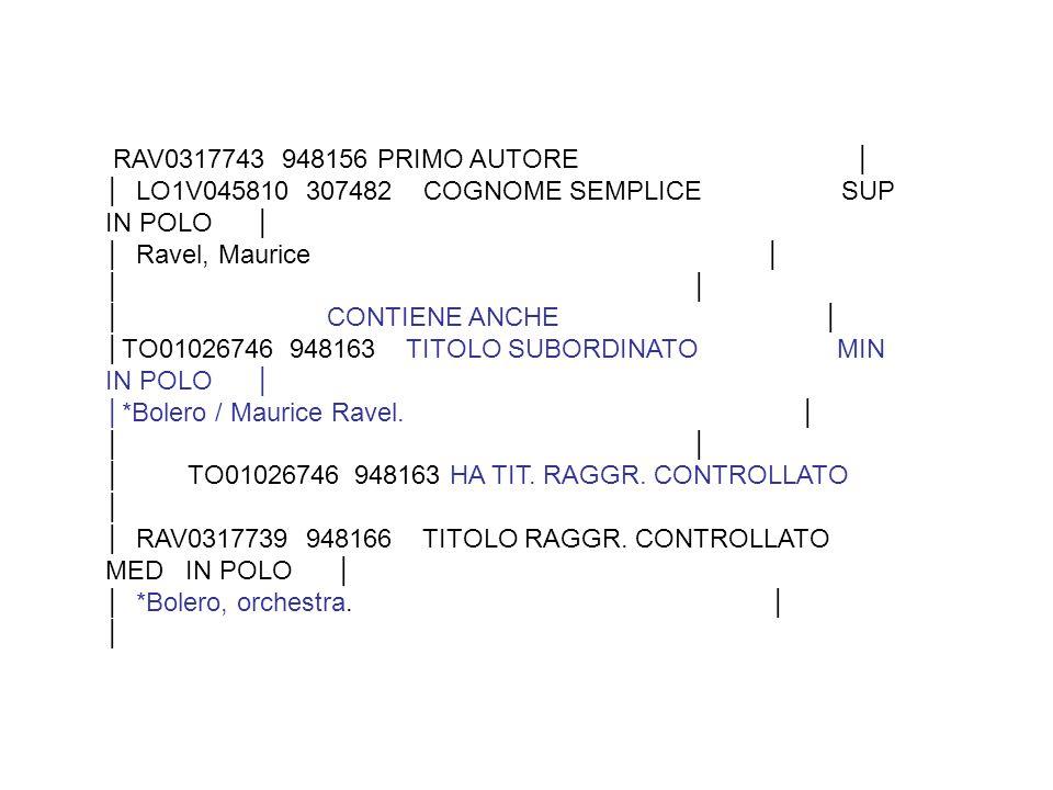 RAV0317743 948156 PRIMO AUTORE │ │ LO1V045810 307482 COGNOME SEMPLICE SUP IN POLO │ │ Ravel, Maurice │ │ │ CONTIENE ANCHE │ │TO01026746 948163 TITOLO SUBORDINATO MIN IN POLO │ │*Bolero / Maurice Ravel.