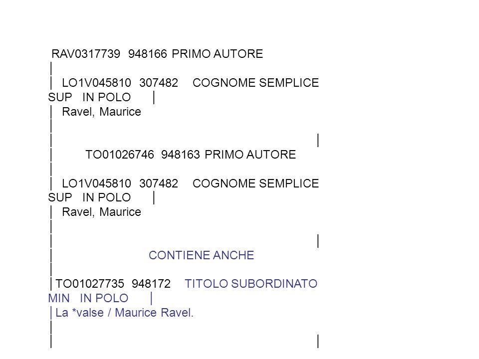 RAV0317739 948166 PRIMO AUTORE │ │ LO1V045810 307482 COGNOME SEMPLICE SUP IN POLO │ │ Ravel, Maurice │ │ │ TO01026746 948163 PRIMO AUTORE │ │ LO1V045810 307482 COGNOME SEMPLICE SUP IN POLO │ │ Ravel, Maurice │ │ │ CONTIENE ANCHE │ │TO01027735 948172 TITOLO SUBORDINATO MIN IN POLO │ │La *valse / Maurice Ravel.