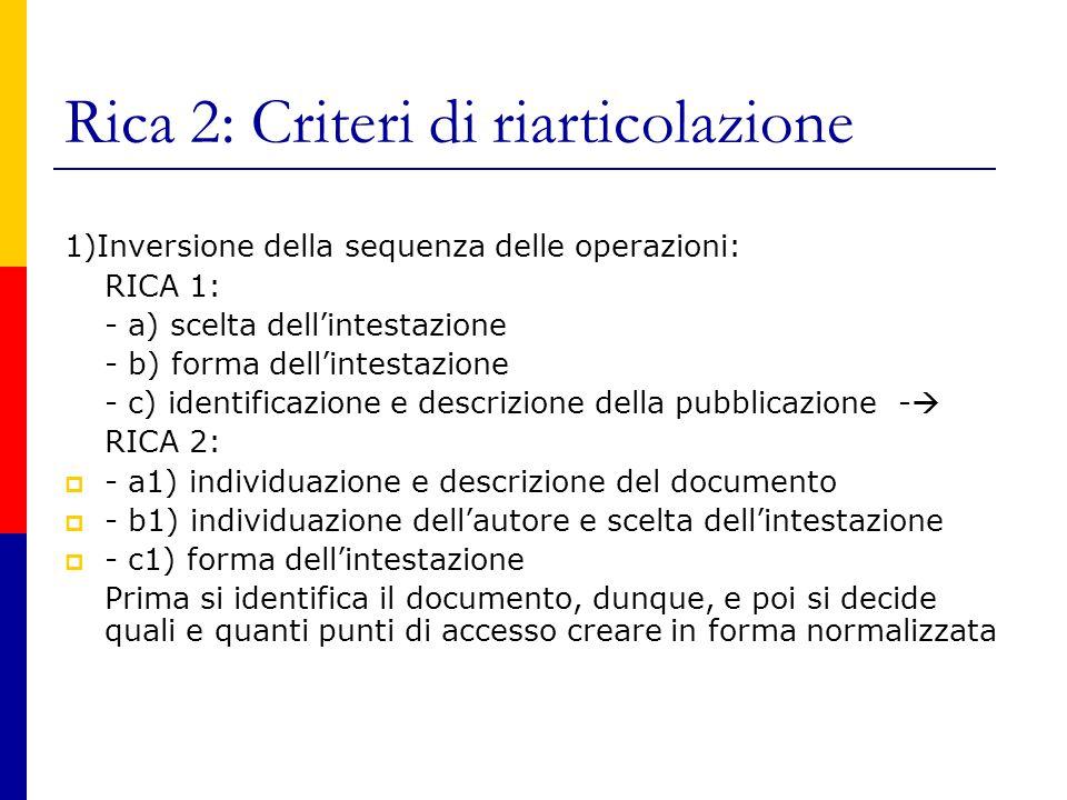 Rica 2: Criteri di riarticolazione 1)Inversione della sequenza delle operazioni: RICA 1: - a) scelta dell'intestazione - b) forma dell'intestazione - c) identificazione e descrizione della pubblicazione -  RICA 2:  - a1) individuazione e descrizione del documento  - b1) individuazione dell'autore e scelta dell'intestazione  - c1) forma dell'intestazione Prima si identifica il documento, dunque, e poi si decide quali e quanti punti di accesso creare in forma normalizzata