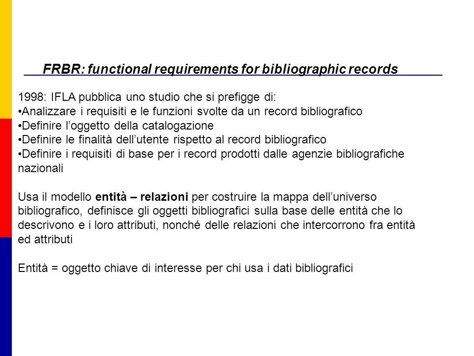 FRBR: functional requirements for bibliographic records 1998: IFLA pubblica uno studio che si prefigge di: Analizzare i requisiti e le funzioni svolte da un record bibliografico Definire l'oggetto della catalogazione Definire le finalità dell'utente rispetto al record bibliografico Definire i requisiti di base per i record prodotti dalle agenzie bibliografiche nazionali Usa il modello entità – relazioni per costruire la mappa dell'universo bibliografico, definisce gli oggetti bibliografici sulla base delle entità che lo descrivono e i loro attributi, nonché delle relazioni che intercorrono fra entità ed attributi Entità = oggetto chiave di interesse per chi usa i dati bibliografici