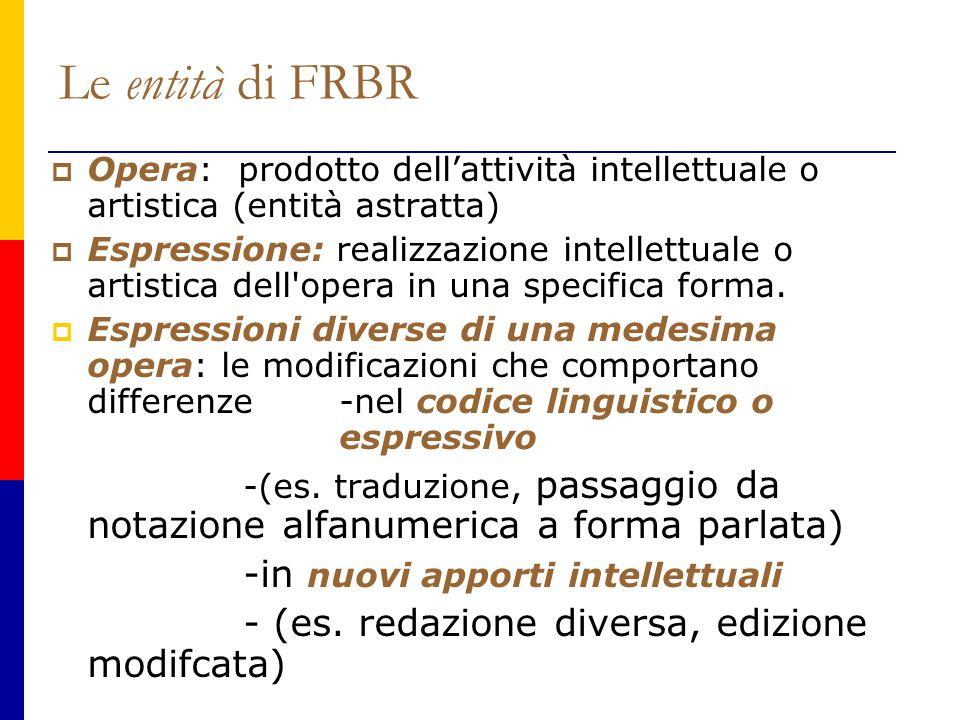 Le entità di FRBR  Opera: prodotto dell'attività intellettuale o artistica (entità astratta)  Espressione: realizzazione intellettuale o artistica dell opera in una specifica forma.