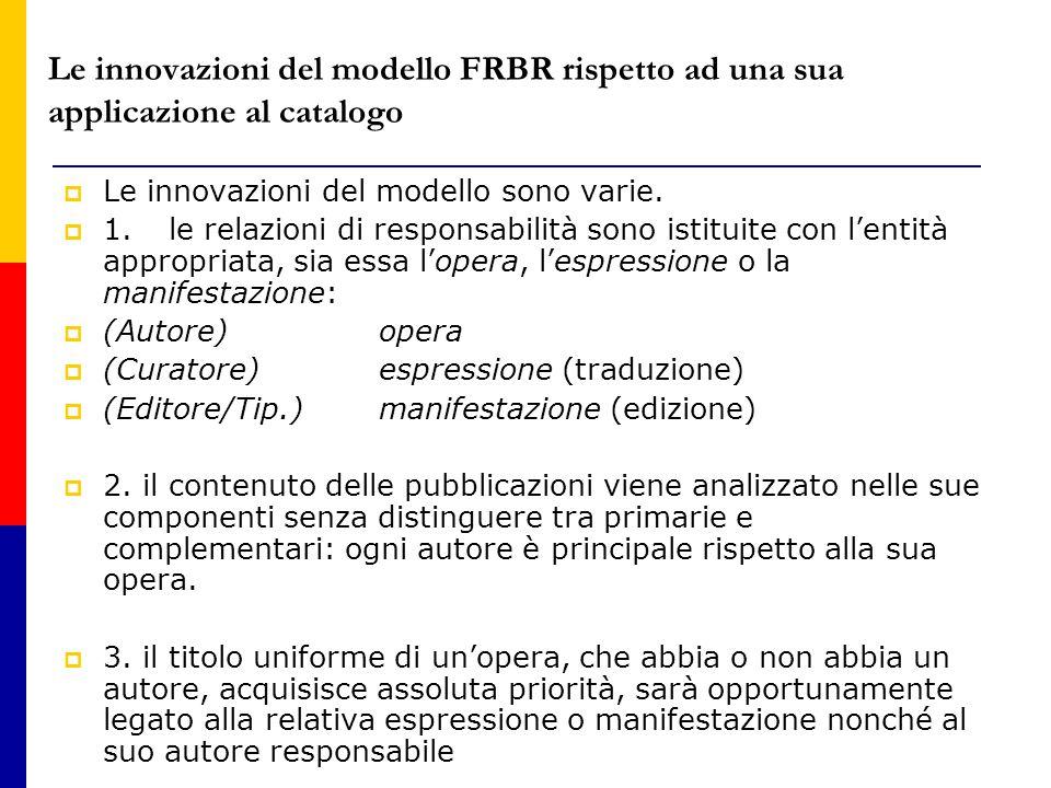 Le innovazioni del modello FRBR rispetto ad una sua applicazione al catalogo  Le innovazioni del modello sono varie.