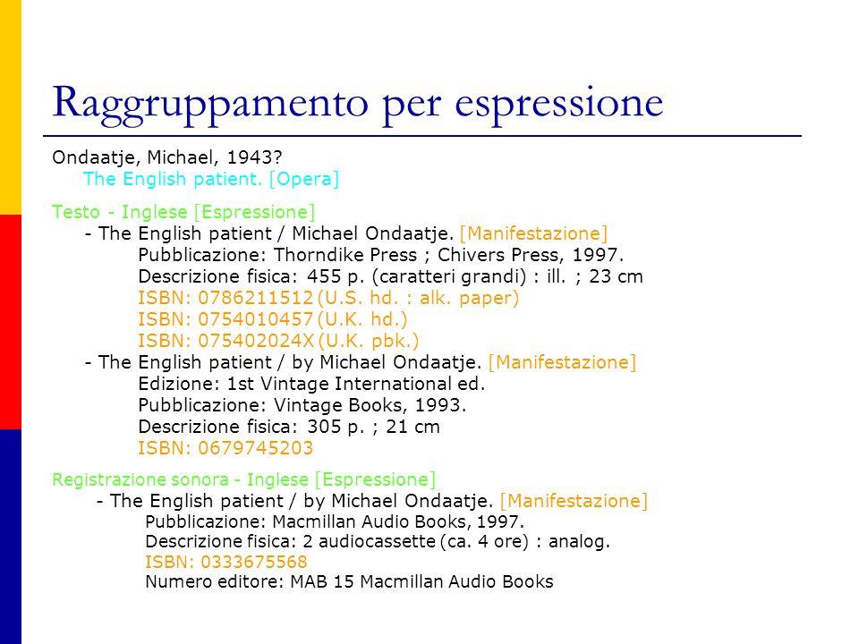 Raggruppamento per espressione Ondaatje, Michael, 1943.