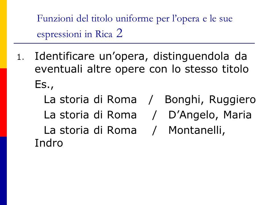 Funzioni del titolo uniforme per l'opera e le sue espressioni in Rica 2 1.