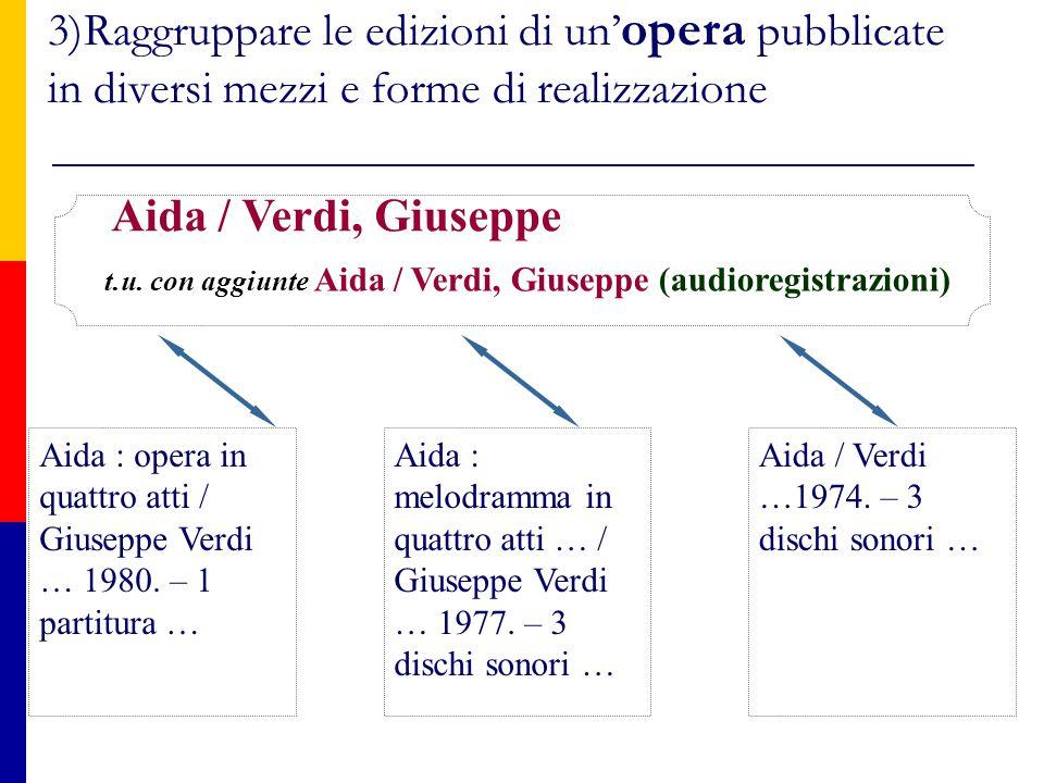 3)Raggruppare le edizioni di un' opera pubblicate in diversi mezzi e forme di realizzazione Aida / Verdi …1974.