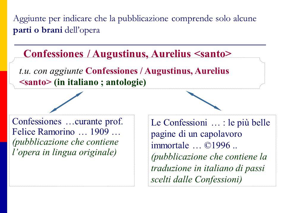 Aggiunte per indicare che la pubblicazione comprende solo alcune parti o brani dell'opera Le Confessioni … : le più belle pagine di un capolavoro immortale … ©1996..
