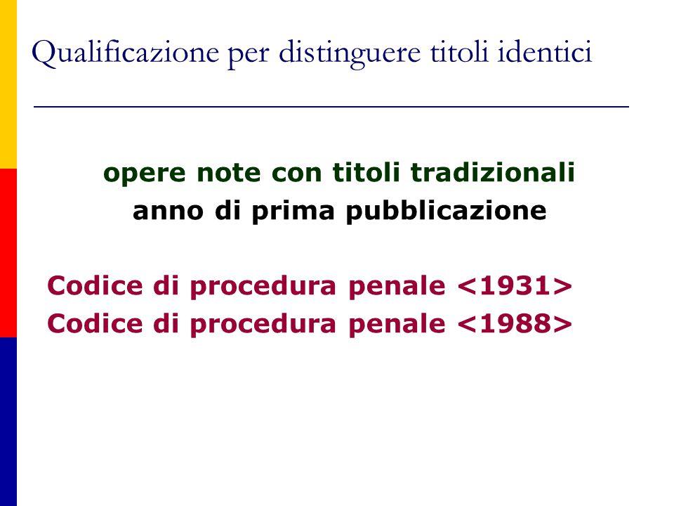 Qualificazione per distinguere titoli identici opere note con titoli tradizionali anno di prima pubblicazione Codice di procedura penale