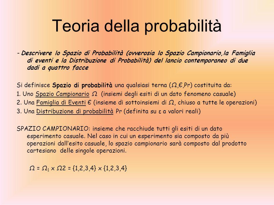 Teoria della probabilità - Descrivere lo Spazio di Probabilità (ovverosia lo Spazio Campionario,la Famiglia di eventi e la Distribuzione di Probabilit