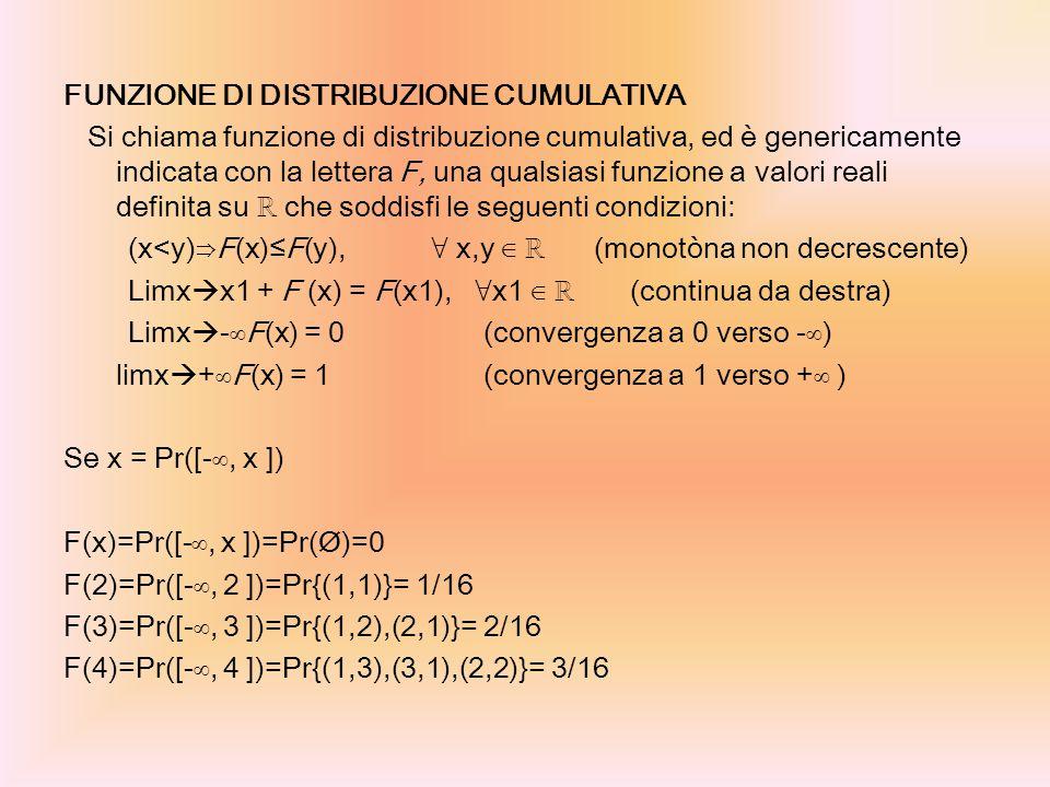 FUNZIONE DI DISTRIBUZIONE CUMULATIVA Si chiama funzione di distribuzione cumulativa, ed è genericamente indicata con la lettera F, una qualsiasi funzi