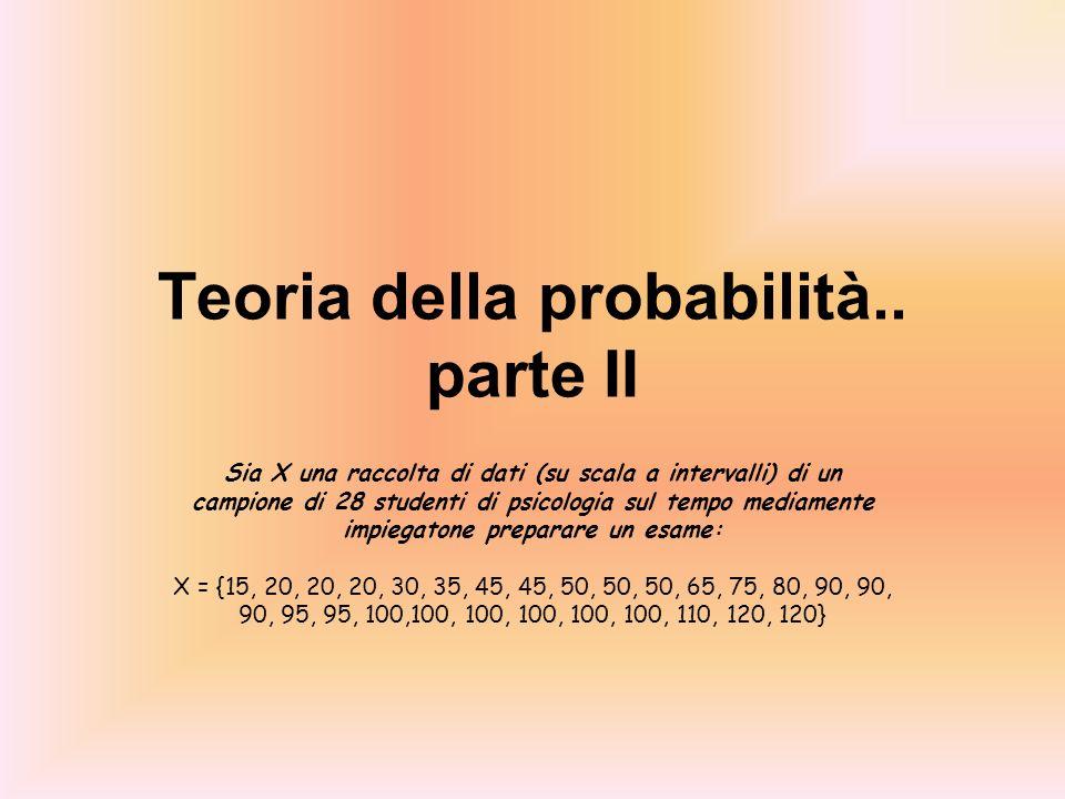 Teoria della probabilità.. parte II Sia X una raccolta di dati (su scala a intervalli) di un campione di 28 studenti di psicologia sul tempo mediament