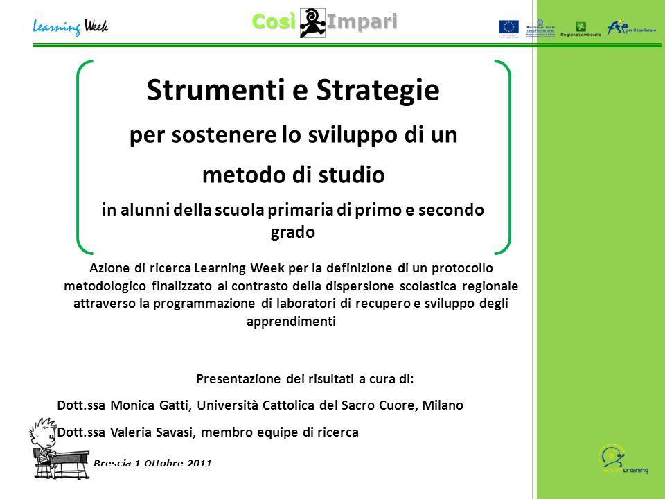 Così Impari Brescia 1 Ottobre 2011 Il confronto col campione normativo… Differenza strategica QS1 nella scuola secondaria di secondo grado: FREQ.PERC.VALID.