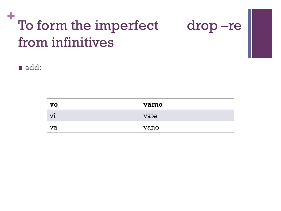 + To form the imperfectdrop –re from infinitives add: vovamo vivate vavano