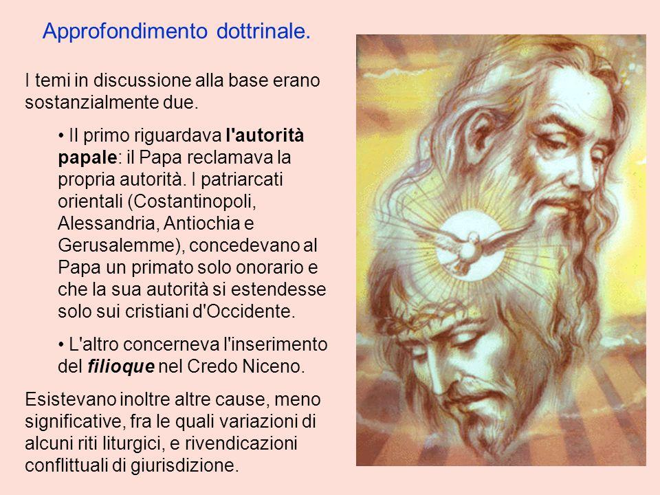 I temi in discussione alla base erano sostanzialmente due. Il primo riguardava l'autorità papale: il Papa reclamava la propria autorità. I patriarcati