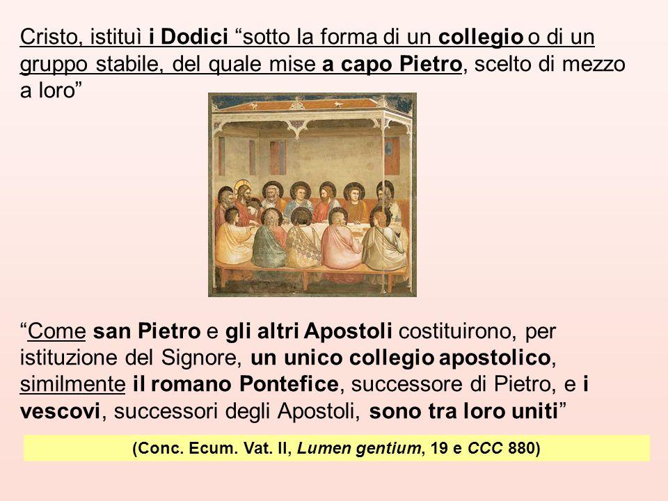 """(Conc. Ecum. Vat. II, Lumen gentium, 19 e CCC 880) Cristo, istituì i Dodici """"sotto la forma di un collegio o di un gruppo stabile, del quale mise a ca"""
