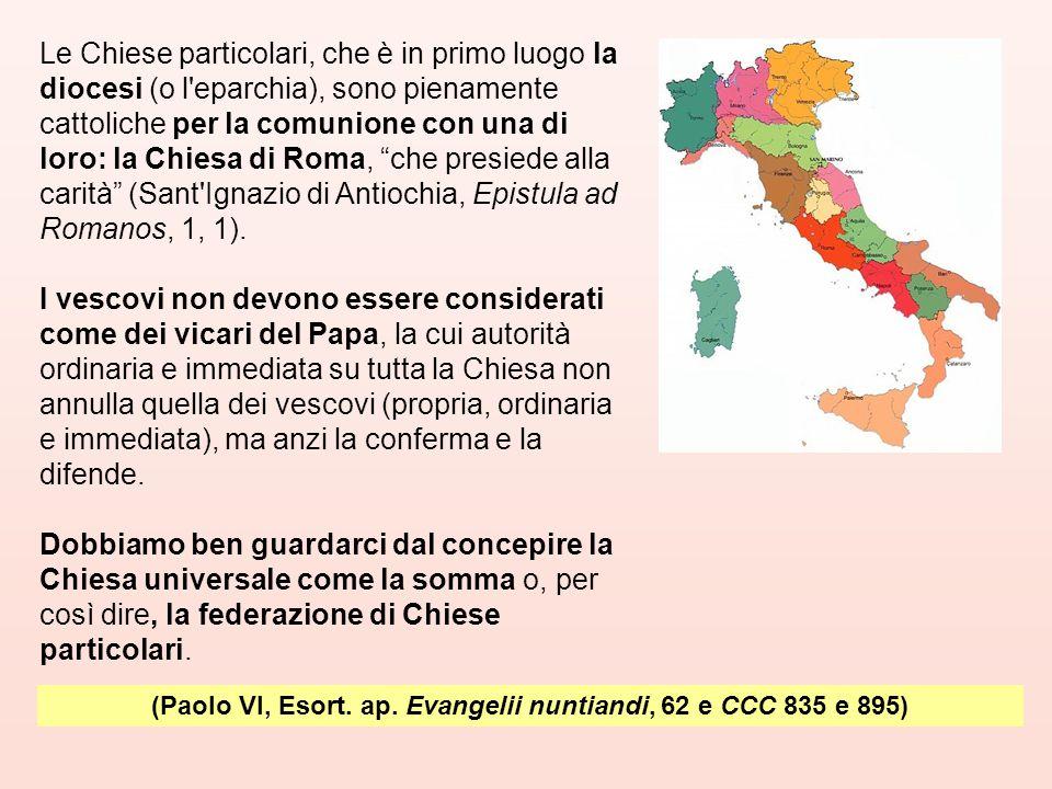 Le Chiese particolari, che è in primo luogo la diocesi (o l'eparchia), sono pienamente cattoliche per la comunione con una di loro: la Chiesa di Roma,