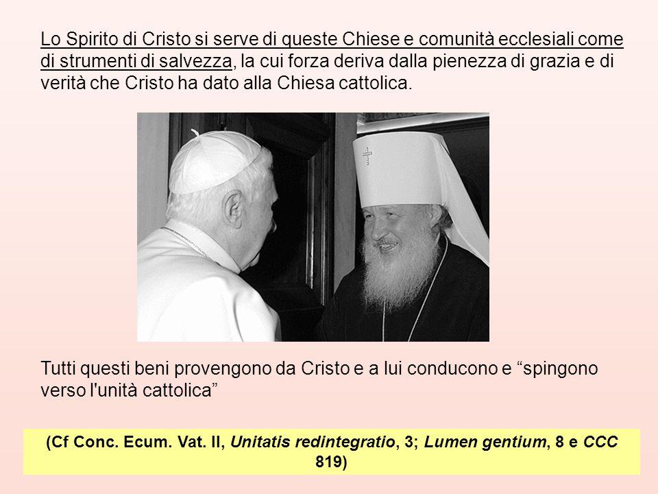 (Cf Conc. Ecum. Vat. II, Unitatis redintegratio, 3; Lumen gentium, 8 e CCC 819) Lo Spirito di Cristo si serve di queste Chiese e comunità ecclesiali c