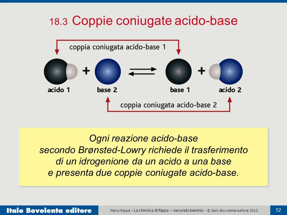 Mario Rippa – La chimica di Rippa – secondo biennio - © Italo Bovolenta editore 2012 12 18.3 Coppie coniugate acido-base Ogni reazione acido-base seco