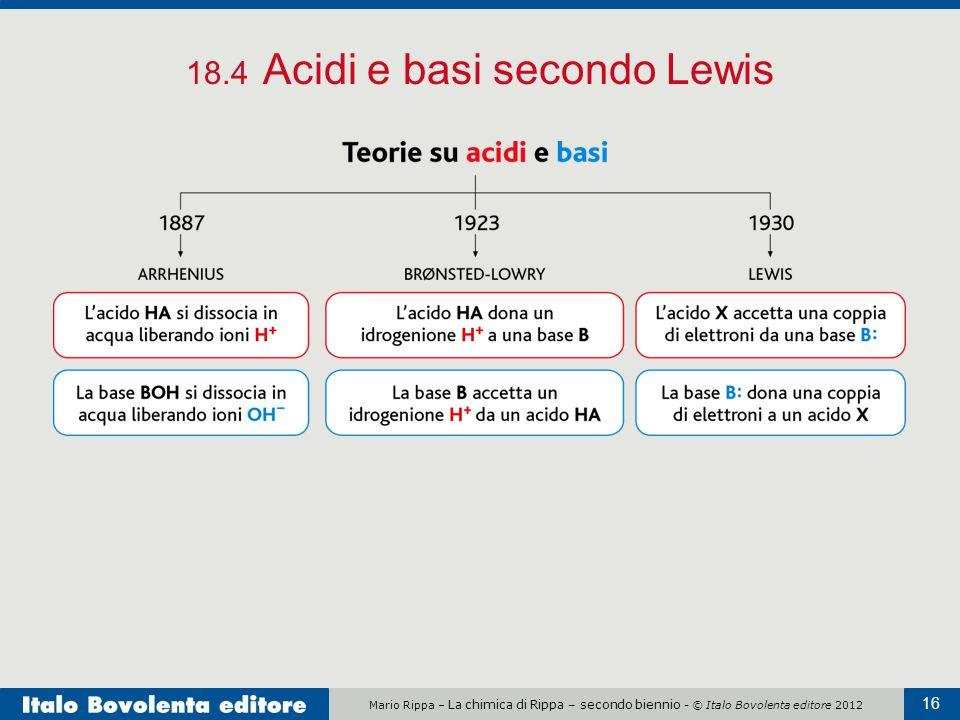 Mario Rippa – La chimica di Rippa – secondo biennio - © Italo Bovolenta editore 2012 16 18.4 Acidi e basi secondo Lewis