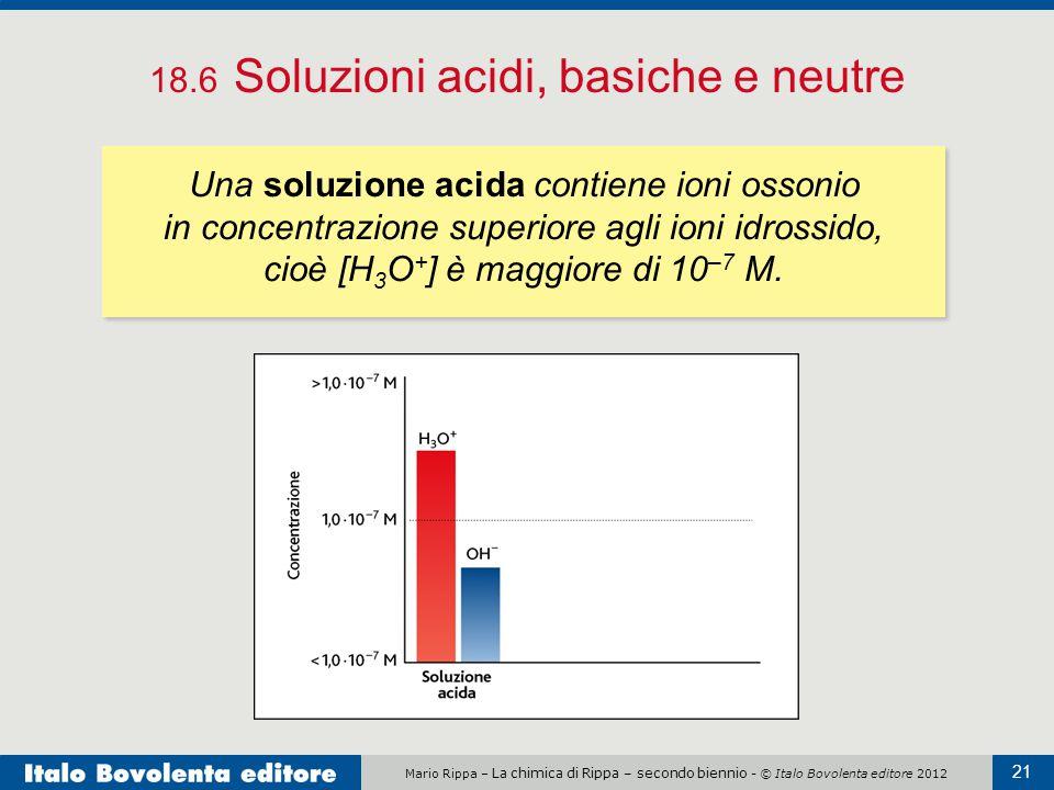 Mario Rippa – La chimica di Rippa – secondo biennio - © Italo Bovolenta editore 2012 21 18.6 Soluzioni acidi, basiche e neutre Una soluzione acida con