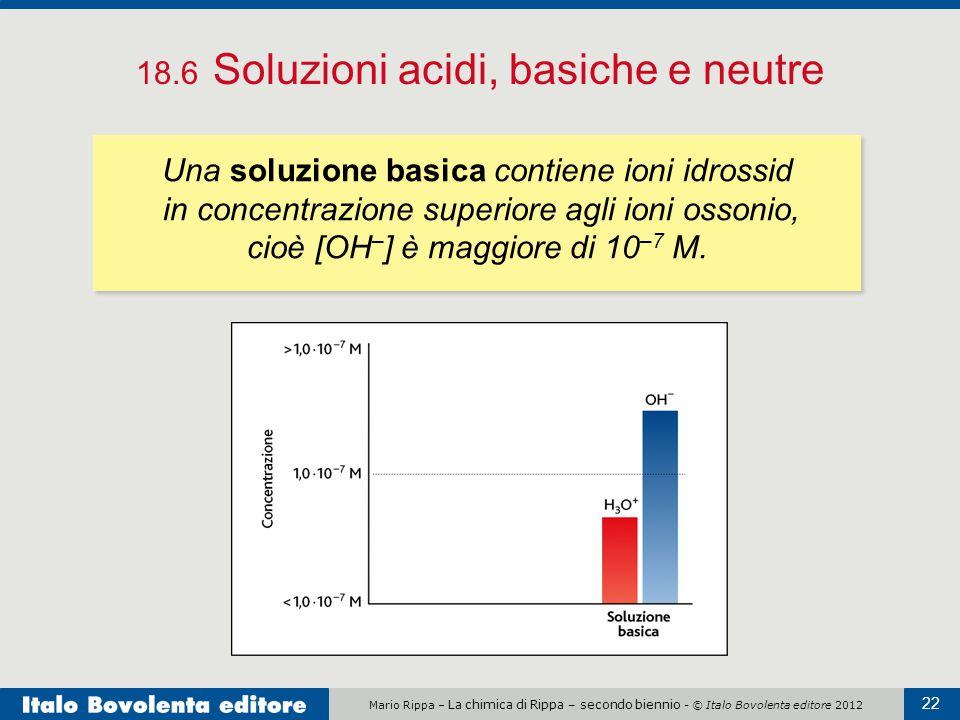 Mario Rippa – La chimica di Rippa – secondo biennio - © Italo Bovolenta editore 2012 22 18.6 Soluzioni acidi, basiche e neutre Una soluzione basica co