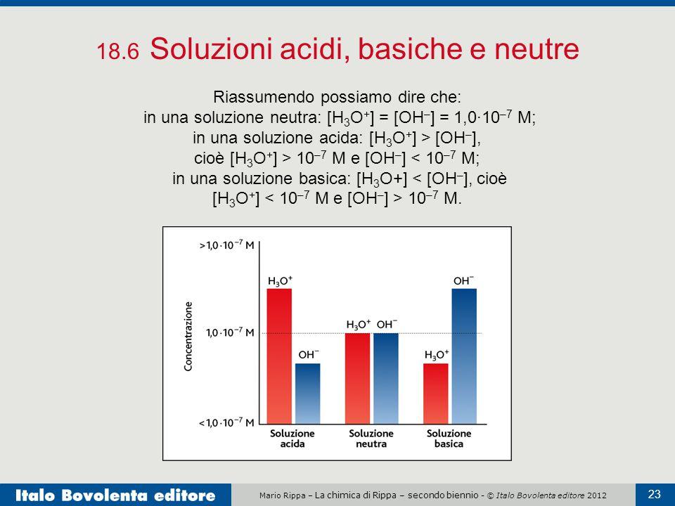 Mario Rippa – La chimica di Rippa – secondo biennio - © Italo Bovolenta editore 2012 23 18.6 Soluzioni acidi, basiche e neutre Riassumendo possiamo di
