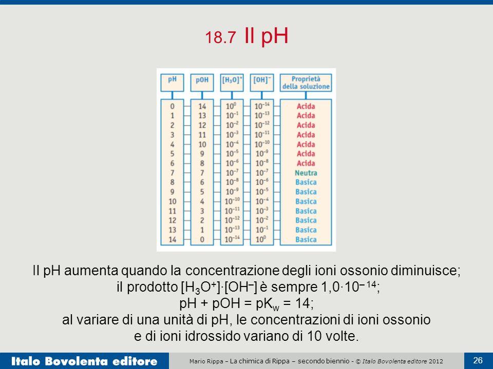 Mario Rippa – La chimica di Rippa – secondo biennio - © Italo Bovolenta editore 2012 26 18.7 Il pH Il pH aumenta quando la concentrazione degli ioni o