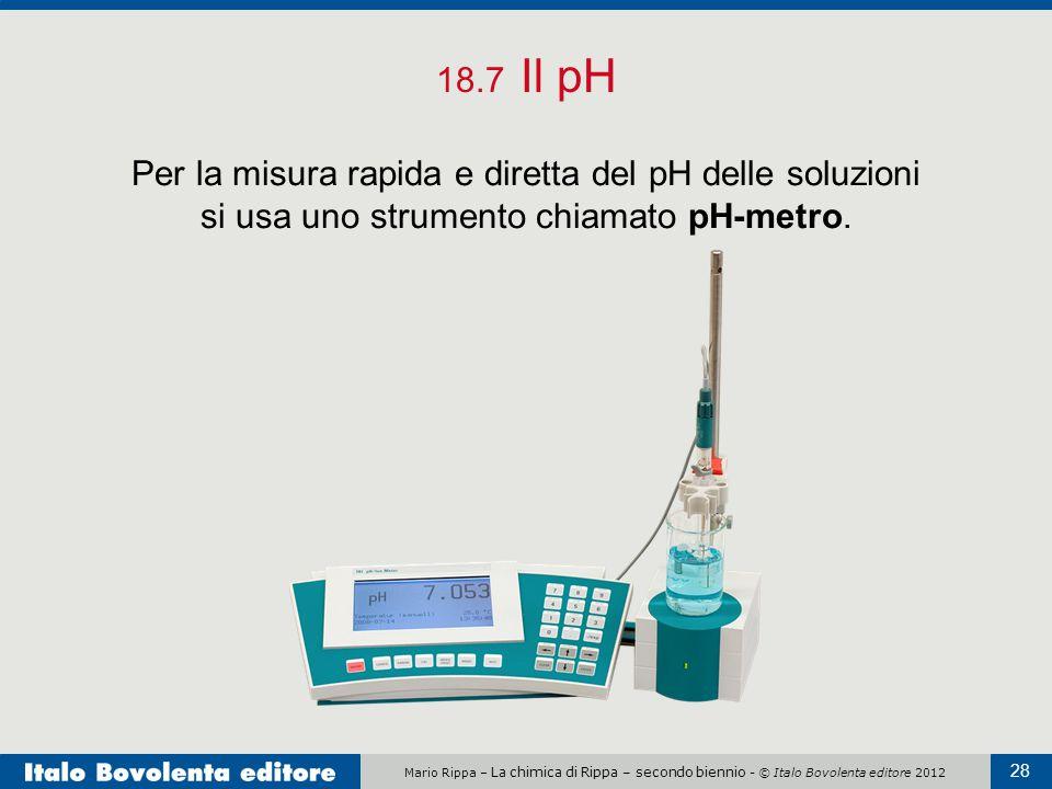 Mario Rippa – La chimica di Rippa – secondo biennio - © Italo Bovolenta editore 2012 28 18.7 Il pH Per la misura rapida e diretta del pH delle soluzio