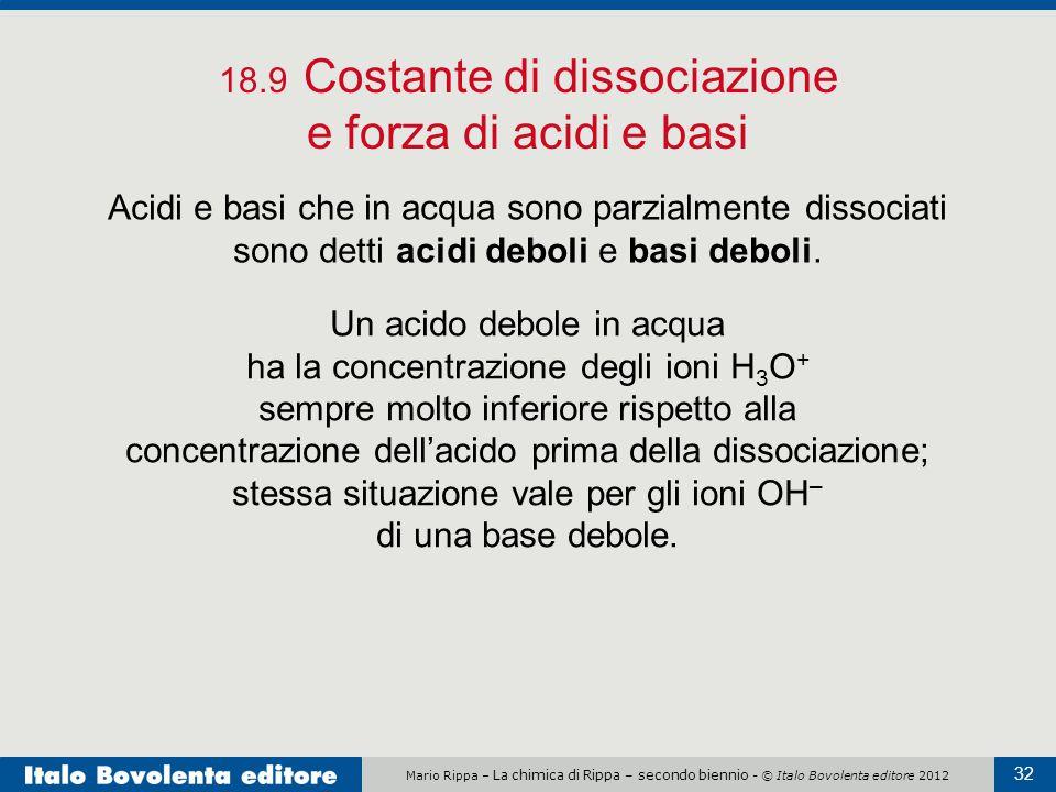 Mario Rippa – La chimica di Rippa – secondo biennio - © Italo Bovolenta editore 2012 32 18.9 Costante di dissociazione e forza di acidi e basi Acidi e