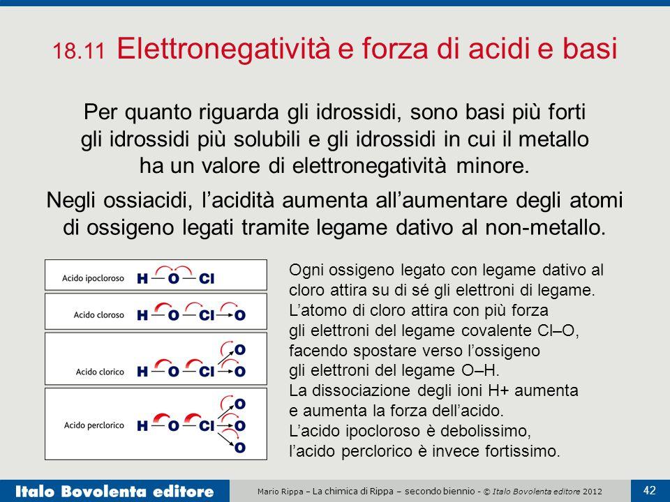 Mario Rippa – La chimica di Rippa – secondo biennio - © Italo Bovolenta editore 2012 42 18.11 Elettronegatività e forza di acidi e basi Per quanto rig
