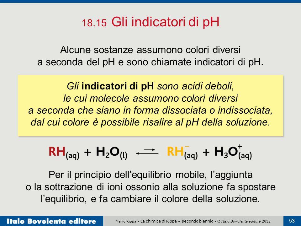 Mario Rippa – La chimica di Rippa – secondo biennio - © Italo Bovolenta editore 2012 53 18.15 Gli indicatori di pH Alcune sostanze assumono colori div