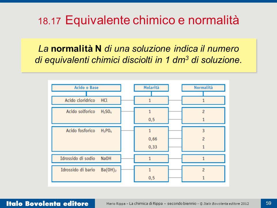 Mario Rippa – La chimica di Rippa – secondo biennio - © Italo Bovolenta editore 2012 59 18.17 Equivalente chimico e normalità La normalità N di una so
