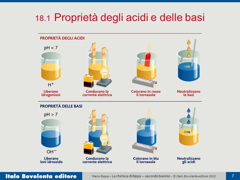 Mario Rippa – La chimica di Rippa – secondo biennio - © Italo Bovolenta editore 2012 7 18.1 Proprietà degli acidi e delle basi