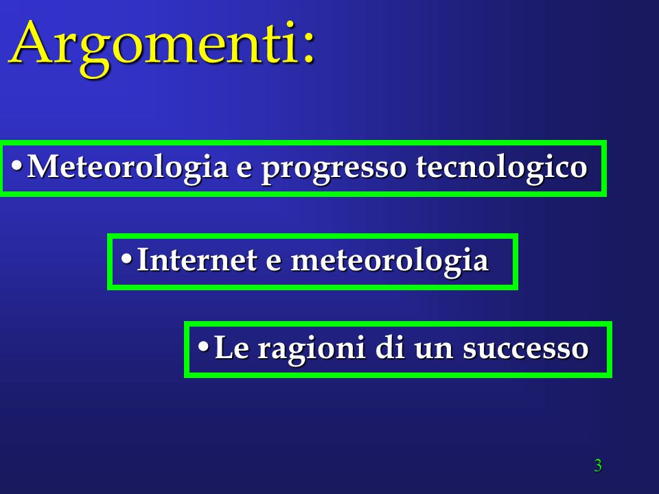 3 Argomenti : Meteorologia e progresso tecnologico Meteorologia e progresso tecnologico Internet e meteorologia Internet e meteorologia Le ragioni di un successo Le ragioni di un successo