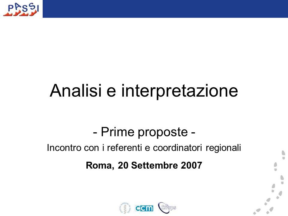 Analisi e interpretazione - Prime proposte - Incontro con i referenti e coordinatori regionali Roma, 20 Settembre 2007