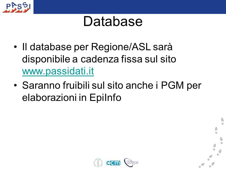 Database Il database per Regione/ASL sarà disponibile a cadenza fissa sul sito www.passidati.it www.passidati.it Saranno fruibili sul sito anche i PGM per elaborazioni in EpiInfo
